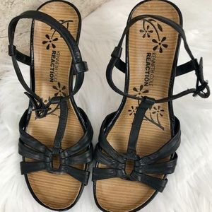 Kenneth Cole Reaction Leather Wedge Sandals